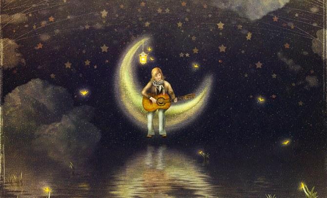 Nur der Mann im Mond schaut zu – so das Motto des Familienkonzertes! © Bühne Baden